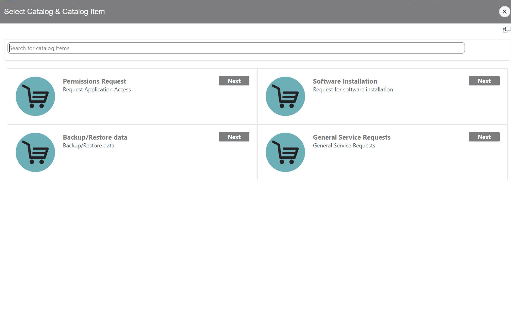 Service Catalog Cart