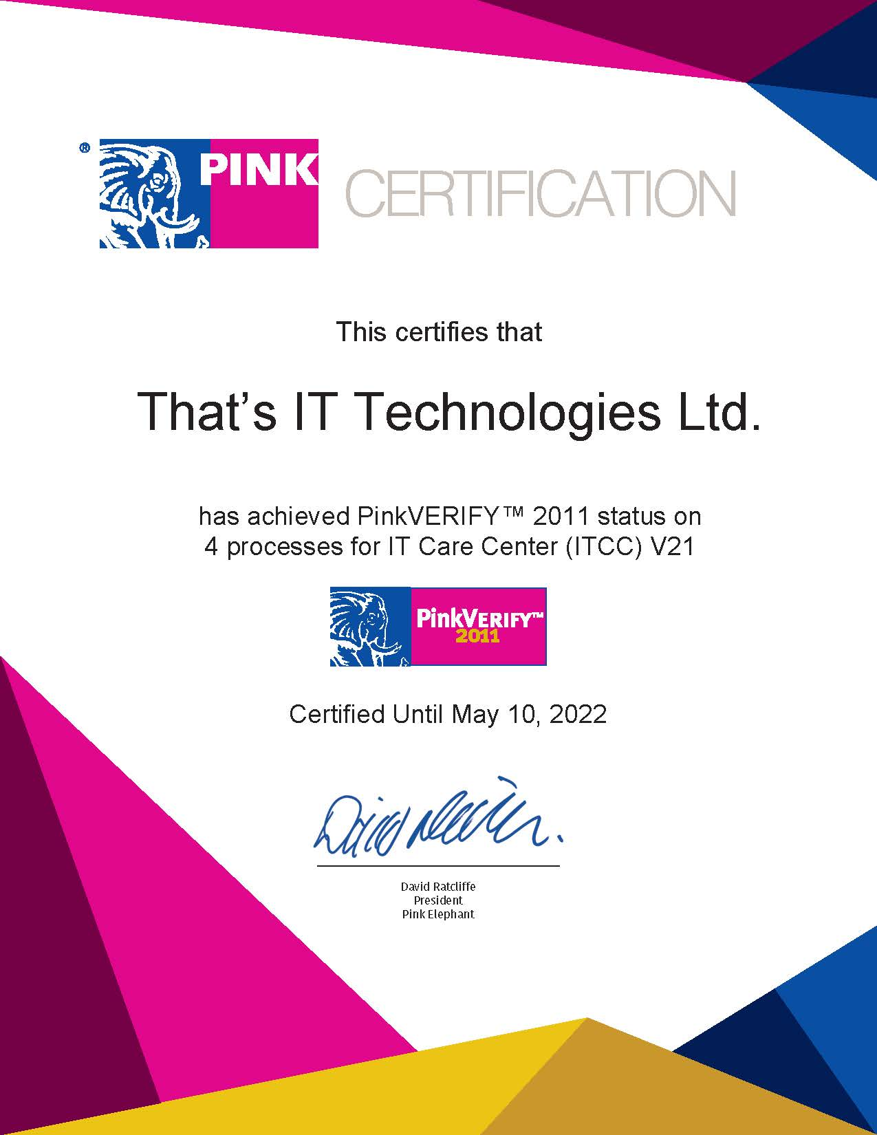 Pink Elephant Certification
